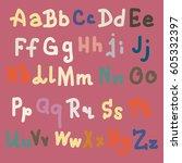 hand drawn alphabet. brush... | Shutterstock . vector #605332397