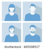 avatar profile picture icon set ... | Shutterstock .eps vector #605338517