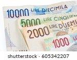 banknotes from italy. italian... | Shutterstock . vector #605342207