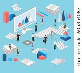 isometric flat 3d isolated... | Shutterstock .eps vector #605354087