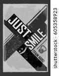 fitness typographic grunge... | Shutterstock .eps vector #605358923