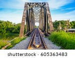 railway track on the bridge... | Shutterstock . vector #605363483