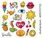 vector set of cool stickers ... | Shutterstock .eps vector #605372723