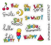 set of vector stickers  patches ... | Shutterstock .eps vector #605372747