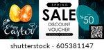 easter sale vector illustration.... | Shutterstock .eps vector #605381147
