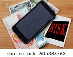 smartphone and money with word... | Shutterstock . vector #605383763