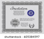 grey formal invitation. with... | Shutterstock .eps vector #605384597