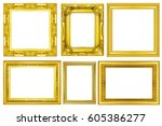 collection of gold vintage... | Shutterstock . vector #605386277