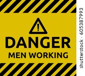 danger men working sign | Shutterstock .eps vector #605387993