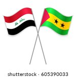 iraqi and sao tomean crossed... | Shutterstock .eps vector #605390033