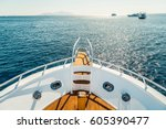 beautiful view from a bow of... | Shutterstock . vector #605390477