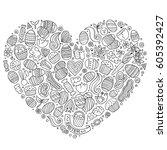 line art vector hand drawn set...   Shutterstock .eps vector #605392427