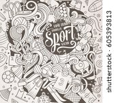 cartoon cute doodles hand drawn ...   Shutterstock .eps vector #605393813