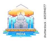 india   modern vector line... | Shutterstock .eps vector #605394077