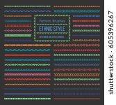 set of vector pattern brushes... | Shutterstock .eps vector #605396267
