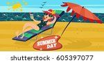 summer beach. vacation at the... | Shutterstock .eps vector #605397077