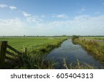 typical dutch landscape with... | Shutterstock . vector #605404313