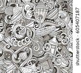cartoon cute doodles hand drawn ... | Shutterstock .eps vector #605407187
