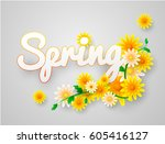 spring time on background with... | Shutterstock .eps vector #605416127