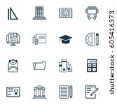 set of 16 school icons.... | Shutterstock .eps vector #605416373