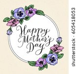 happy mothers day card with... | Shutterstock .eps vector #605418053