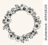 frame of vintage botanical... | Shutterstock .eps vector #605418143