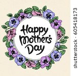 happy mothers day card with... | Shutterstock .eps vector #605418173