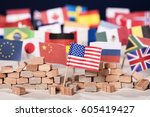 american flag in front of a... | Shutterstock . vector #605419427