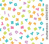 colorful letter pattern on... | Shutterstock .eps vector #605419553
