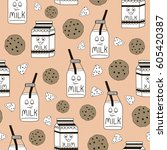 seamless pattern with milk... | Shutterstock .eps vector #605420387
