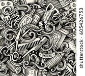 graphic hair salon hand drawn...   Shutterstock .eps vector #605426753