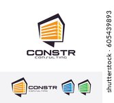 construction consulting  vector ... | Shutterstock .eps vector #605439893