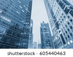 business district with modern... | Shutterstock . vector #605440463