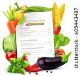vector menu pattern with... | Shutterstock .eps vector #605443487