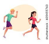 couple of runners  sprinters... | Shutterstock .eps vector #605455763