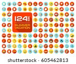 summer vector icon set. beach.... | Shutterstock .eps vector #605462813
