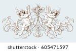 vintage decorative element... | Shutterstock .eps vector #605471597