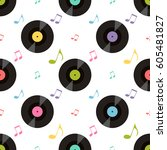 pattern with colorful music... | Shutterstock .eps vector #605481827
