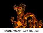 Exotic Gold Dragon On Black Sk...