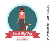 world disability day greeting... | Shutterstock .eps vector #605485193