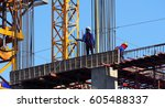 building construction site and... | Shutterstock . vector #605488337