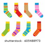 collection of multi colored... | Shutterstock .eps vector #605488973