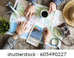 travel planning concept on map | Shutterstock . vector #605490227