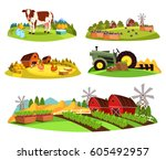 Set Of Isolated Farms At...