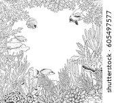 hand drawn underwater natural...   Shutterstock .eps vector #605497577