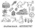 islamic doodle  suitable for... | Shutterstock .eps vector #605500787