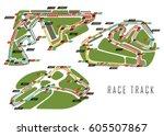 set of race tracks for... | Shutterstock .eps vector #605507867
