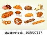 Set Of Bread Food  Sliced...