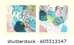 universal floral cards set.... | Shutterstock .eps vector #605513147