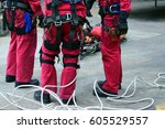 emergency rescue high building  ... | Shutterstock . vector #605529557